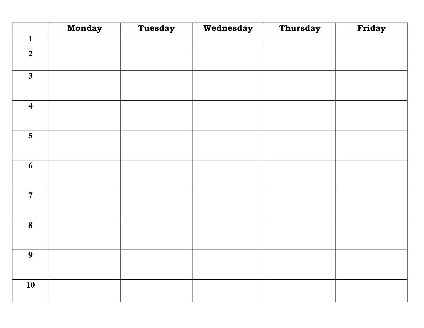 Blank Calendar Template 5 Day – Calendar Inspiration Design Five Day Calendar Template
