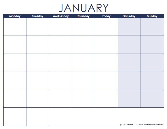 Blank Calendar Template – Free Printable Blank Calendars Monday To Friday Printable Monthly Calendar