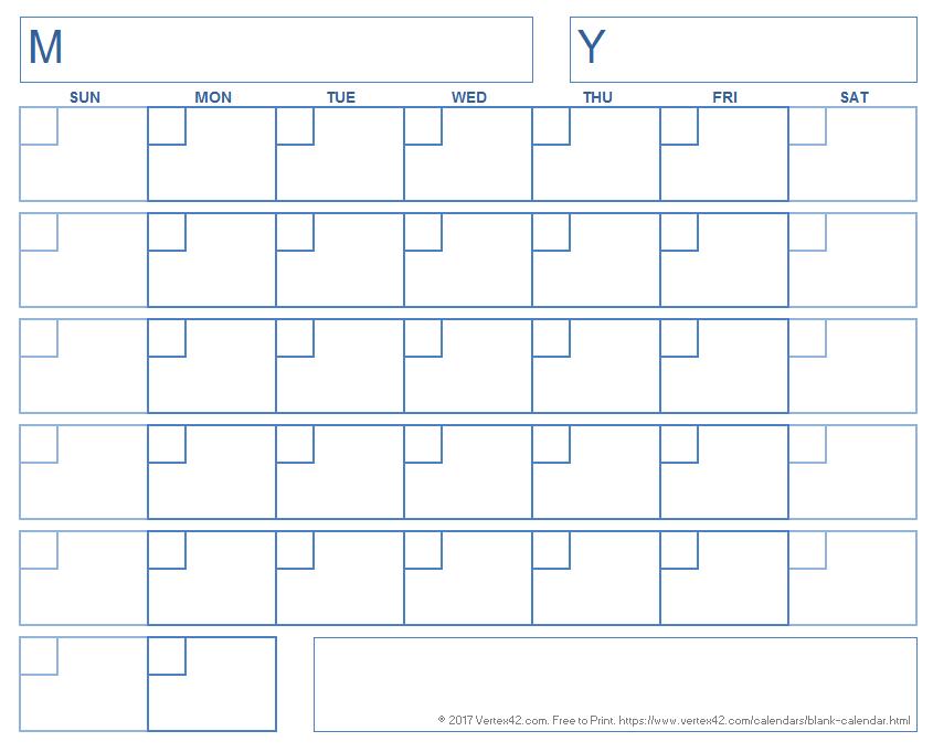 Blank Calendar With A Boxed Grid | Blank Calendar Template Printable Blank 30 Day Calendar