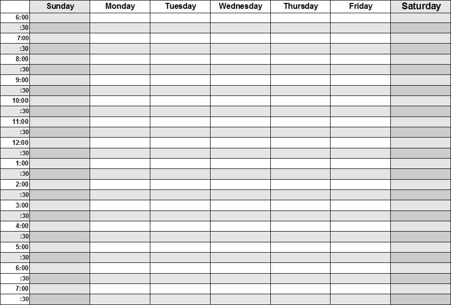 Blank Calendars – Weekly Blank Calendar Templates Blank Time Table For 7 Days