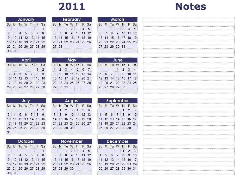 Blank Calendars – Yearly Calendar Forms And Templates Free 2016 Calendar With Room For Taking Notes