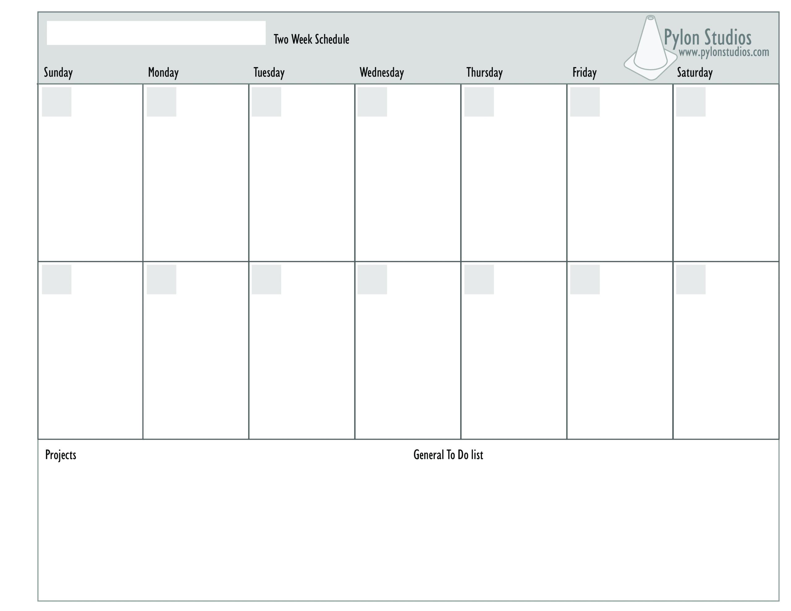 Blank Calender Two Weeks | Example Calendar Printable Two Week Planner Template