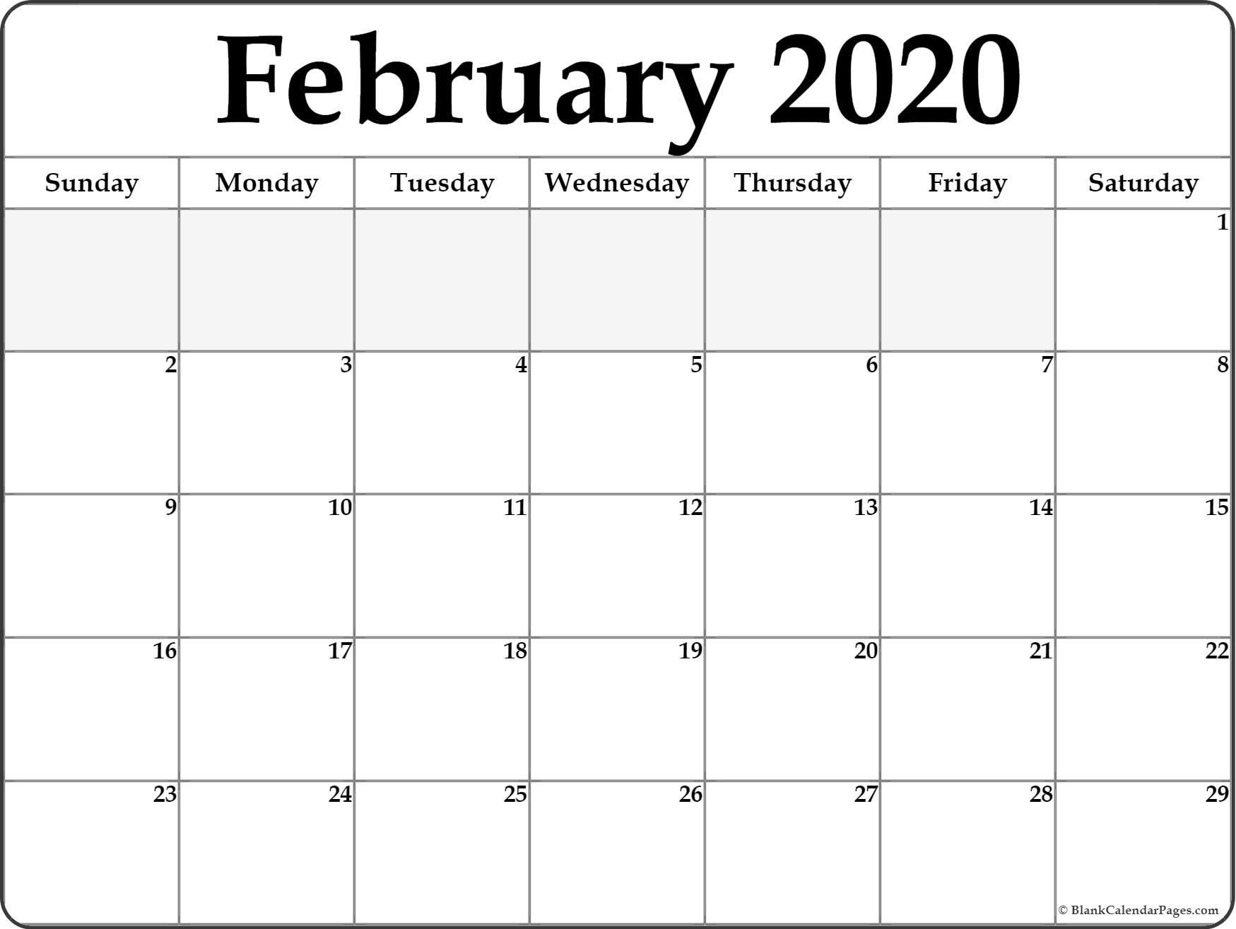 Blank Fill In Calendars 2020 Printable   Calendar Template Free Printable Fill In Calendars