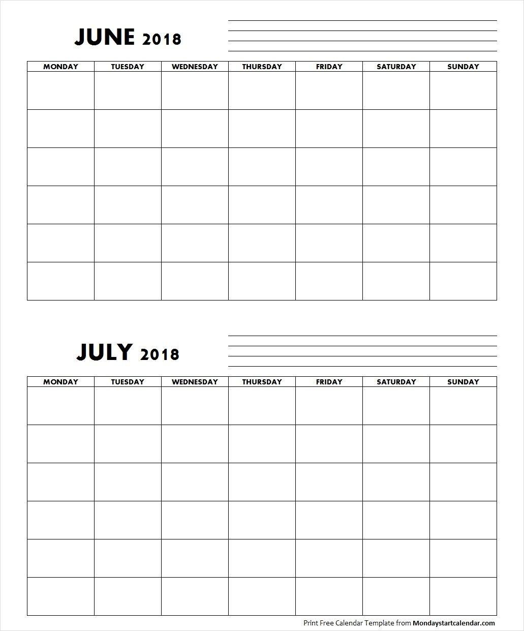 Blank June July 2018 Calendar Monday Start | Free Blank Sunday Through Saturday Calendar