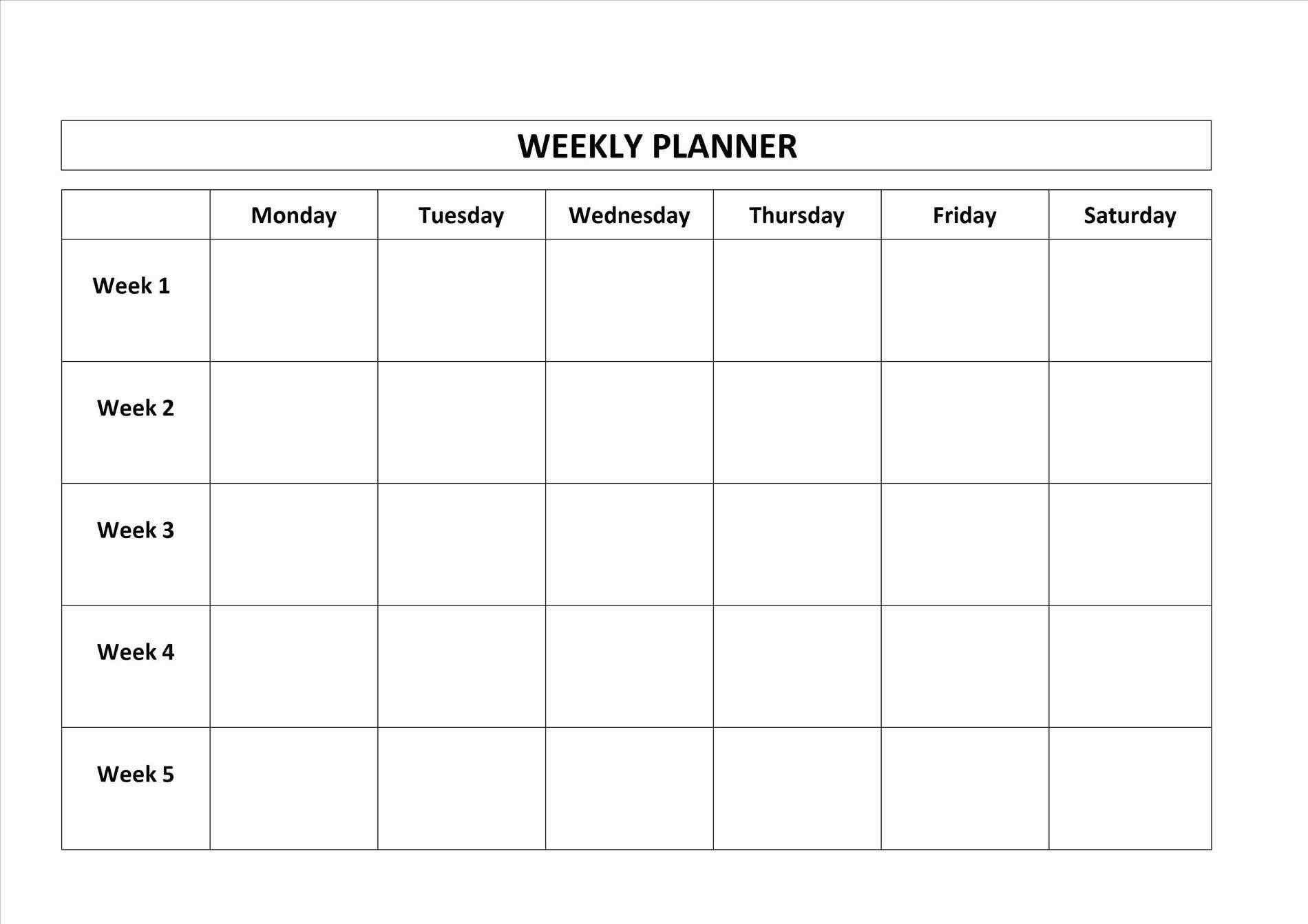 Blank Monday Through Friday Calendar | Calendar Template Monday Friday Calendar Printable