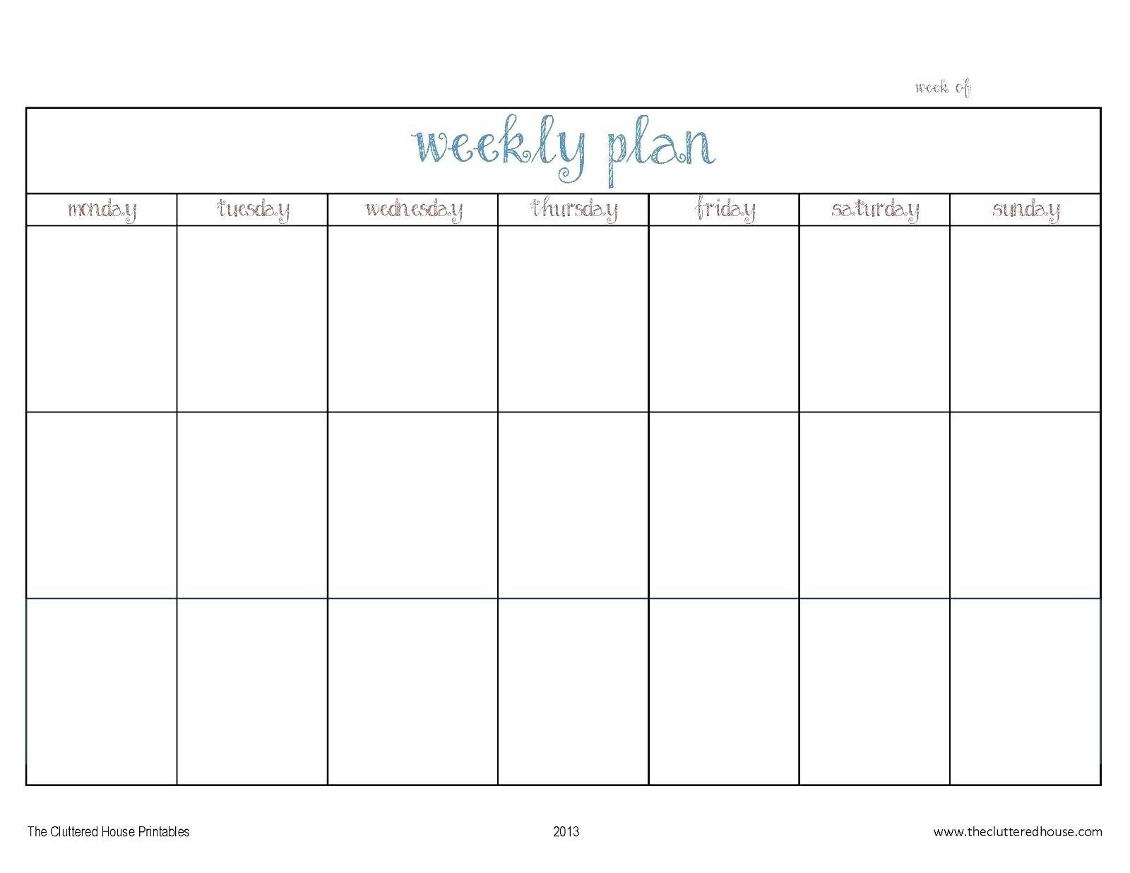 Blank Monday Through Friday Calendars   Calendar Template Monday Thru Friday Printable Calendar