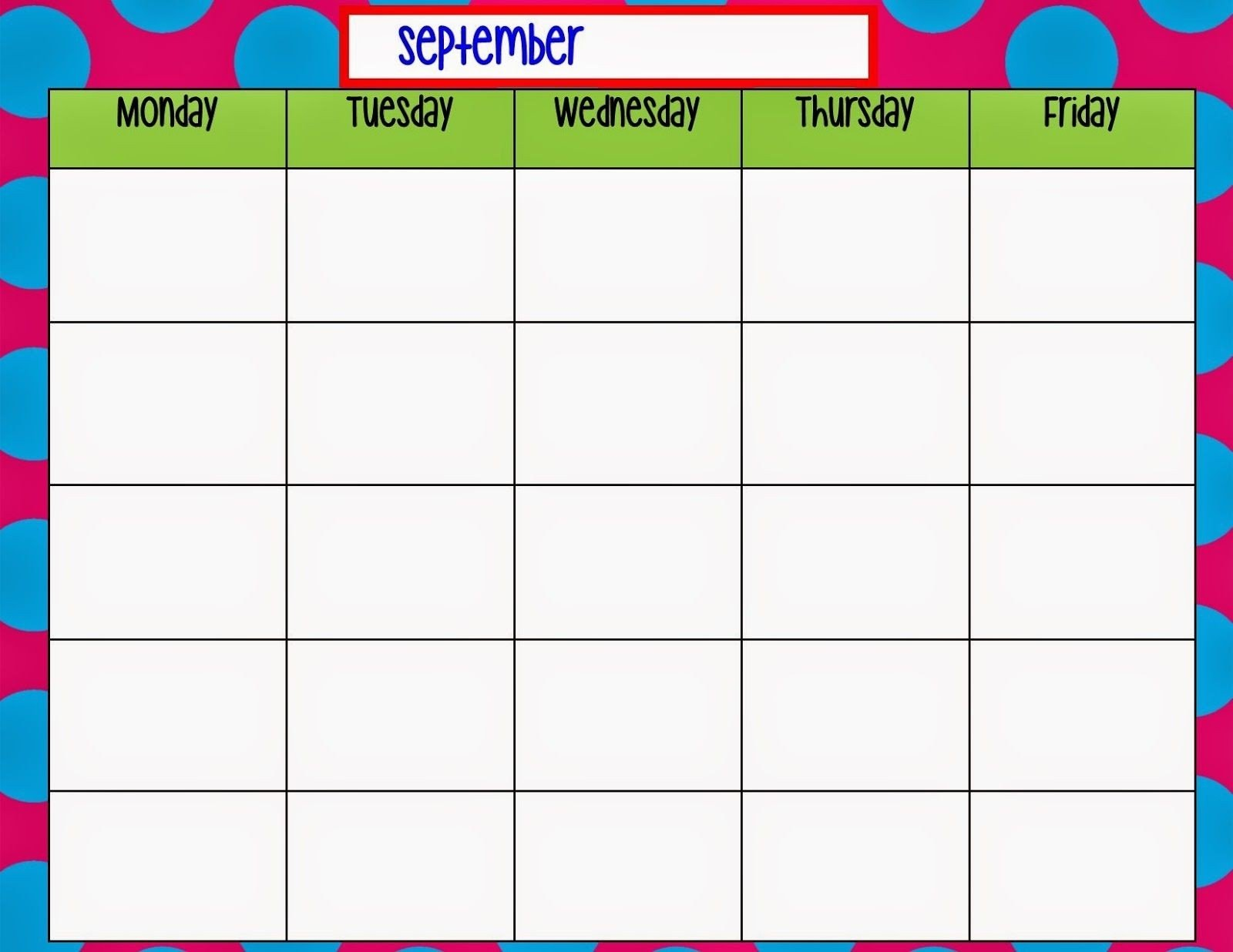 Blank Monday Through Friday Calendars   Calendar Template Monday Thru Friday Printable Calendar Free