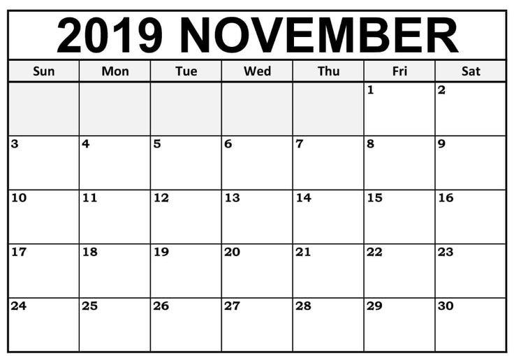 Blank November 2019 Calendar Editable   12 Month Printable 12 Month Editable Calendar