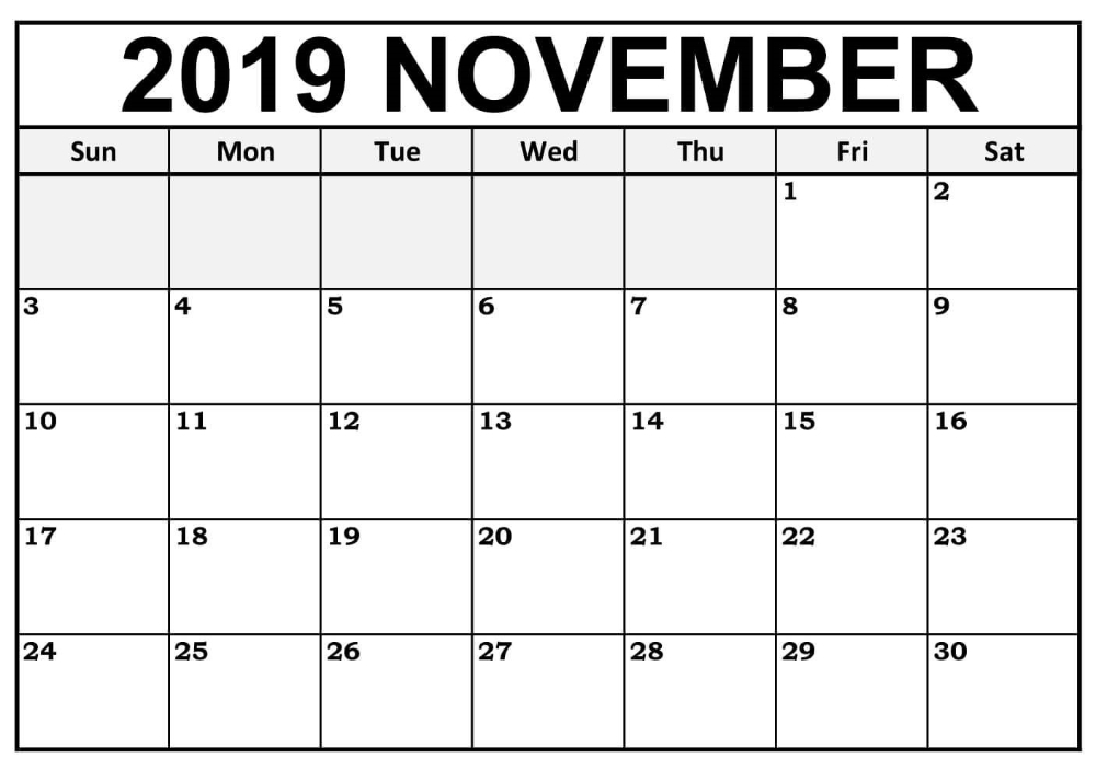 Blank November 2019 Calendar Editable   12 Month Printable 12 Months Calendar Editable