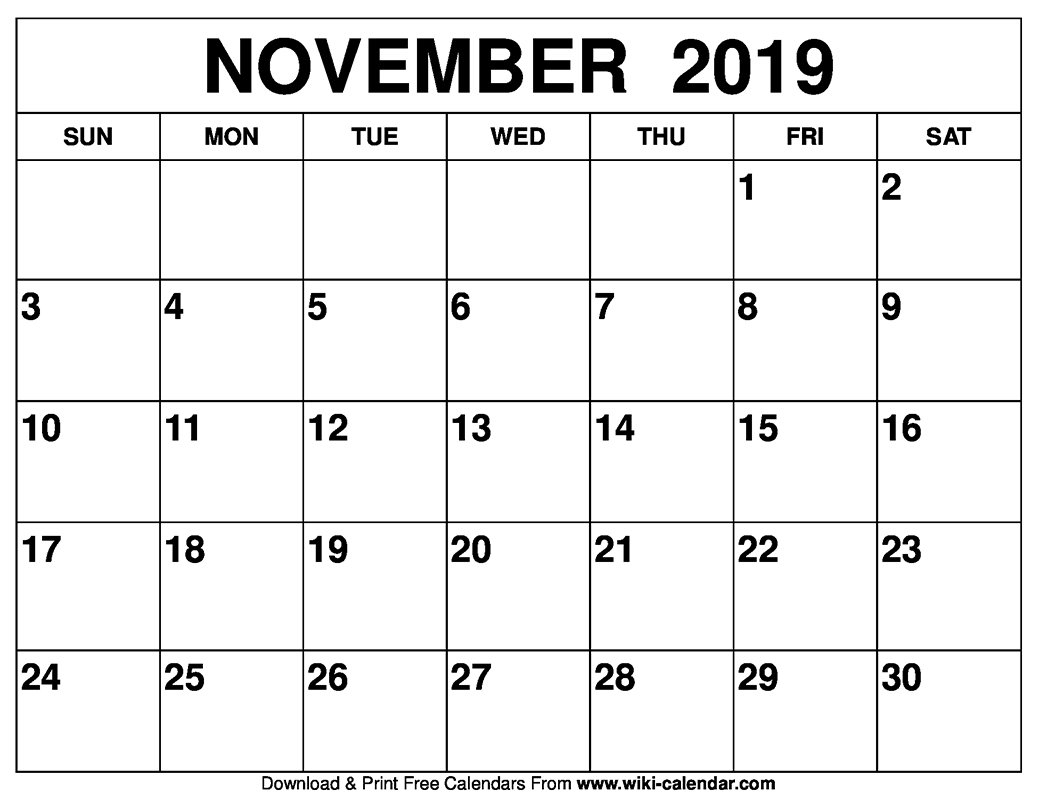 Blank November 2019 Calendar Printable On We Heart It Birthday Calendars That We Can Fill In