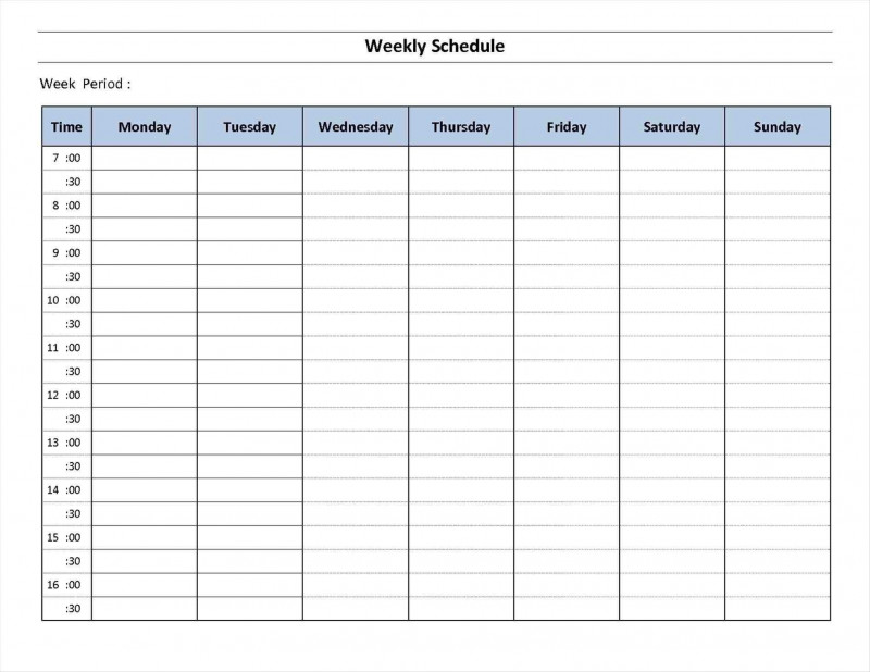 Blank Revision Timetable Template Awesome 7 Day Week Week Day Printable Calander Free