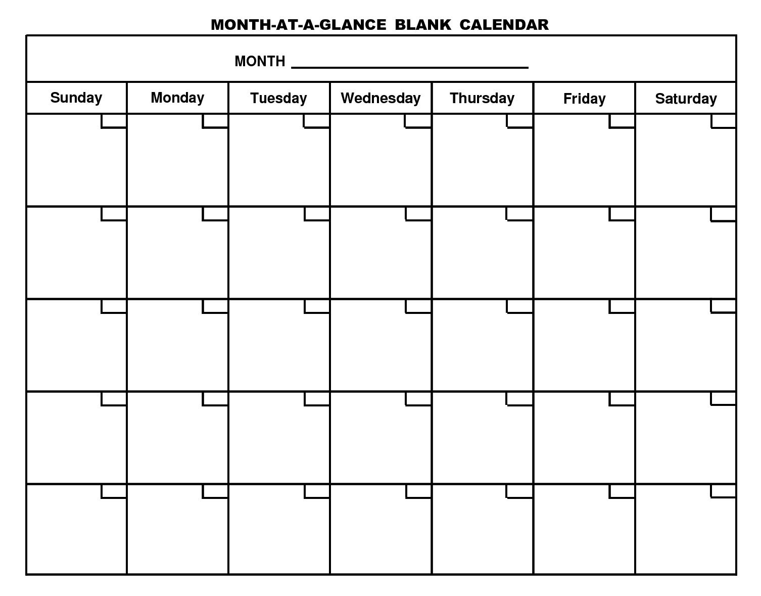 Blank Template For 30 Days | Example Calendar Printable 30 Day Blank Calendar