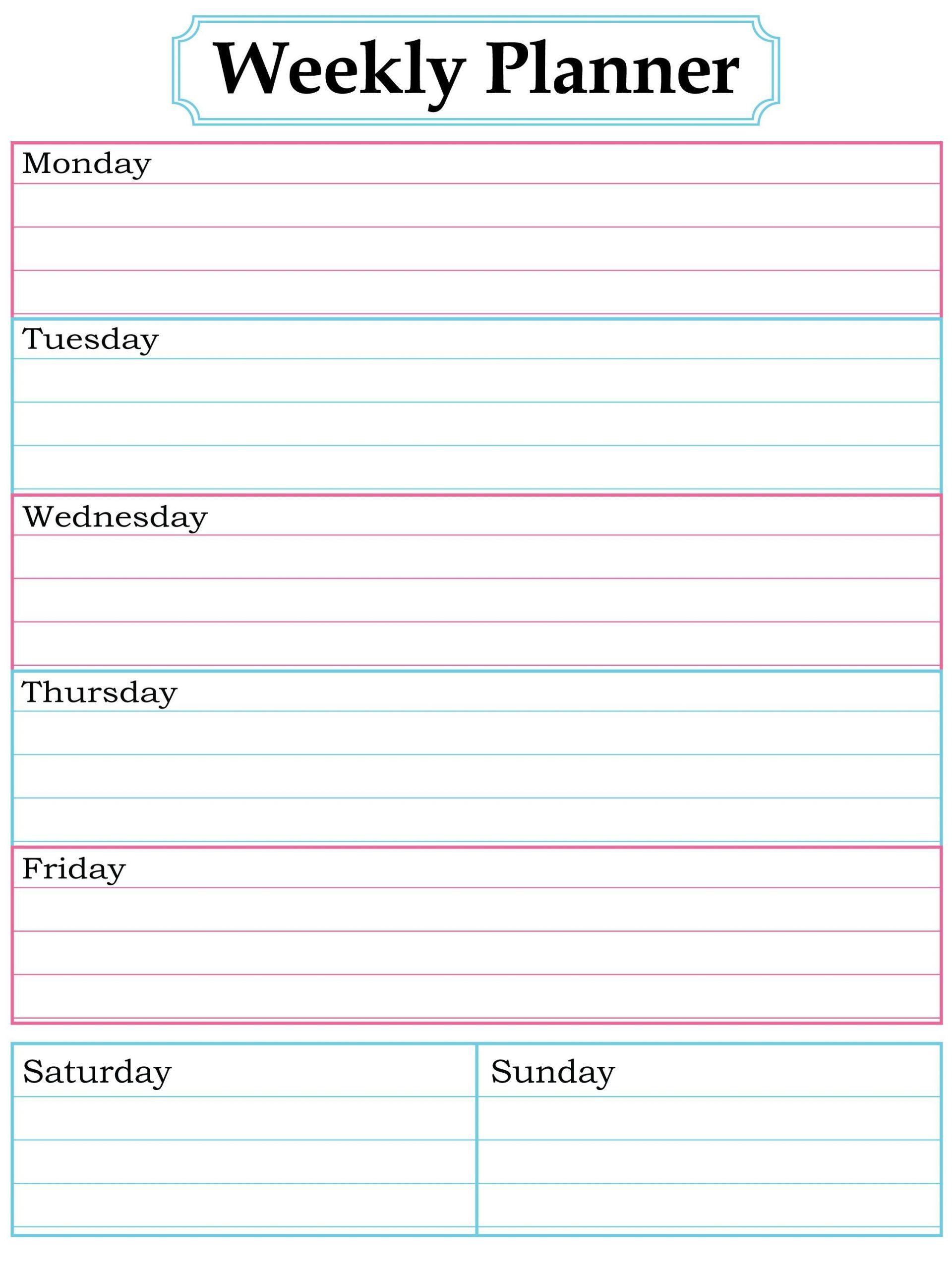 Blank Weekly Calendar To Fill In   Calendar Template Fill In School Schedule