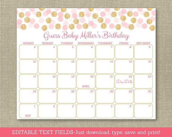 Blush Pink & Gold Glitter Dots Printable Baby Due Date Printable Baby Calendar Due Date
