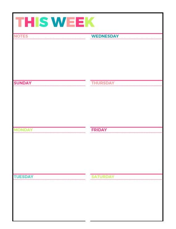 Bright Weekly Planner Printable Week On 1 Page One Week Calendr To Prink