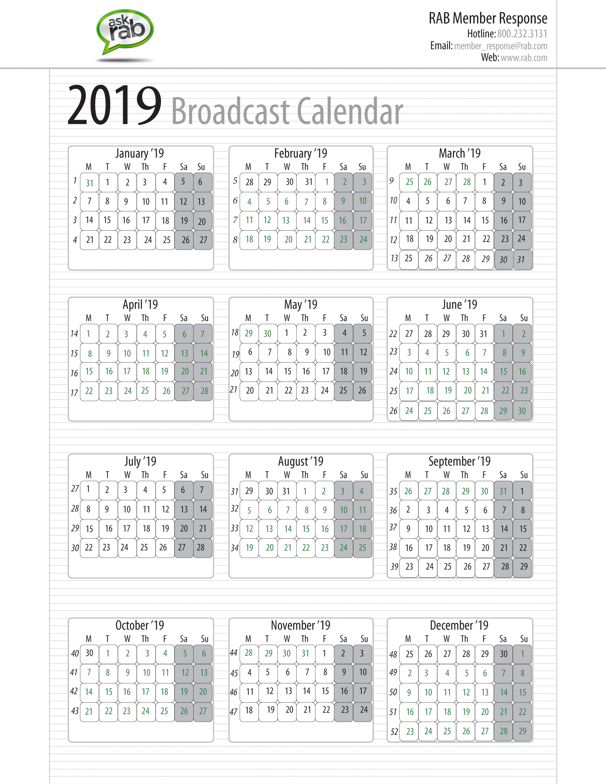 Broadcast Calendars   Rab Sap 52 Week Numbered Calendar