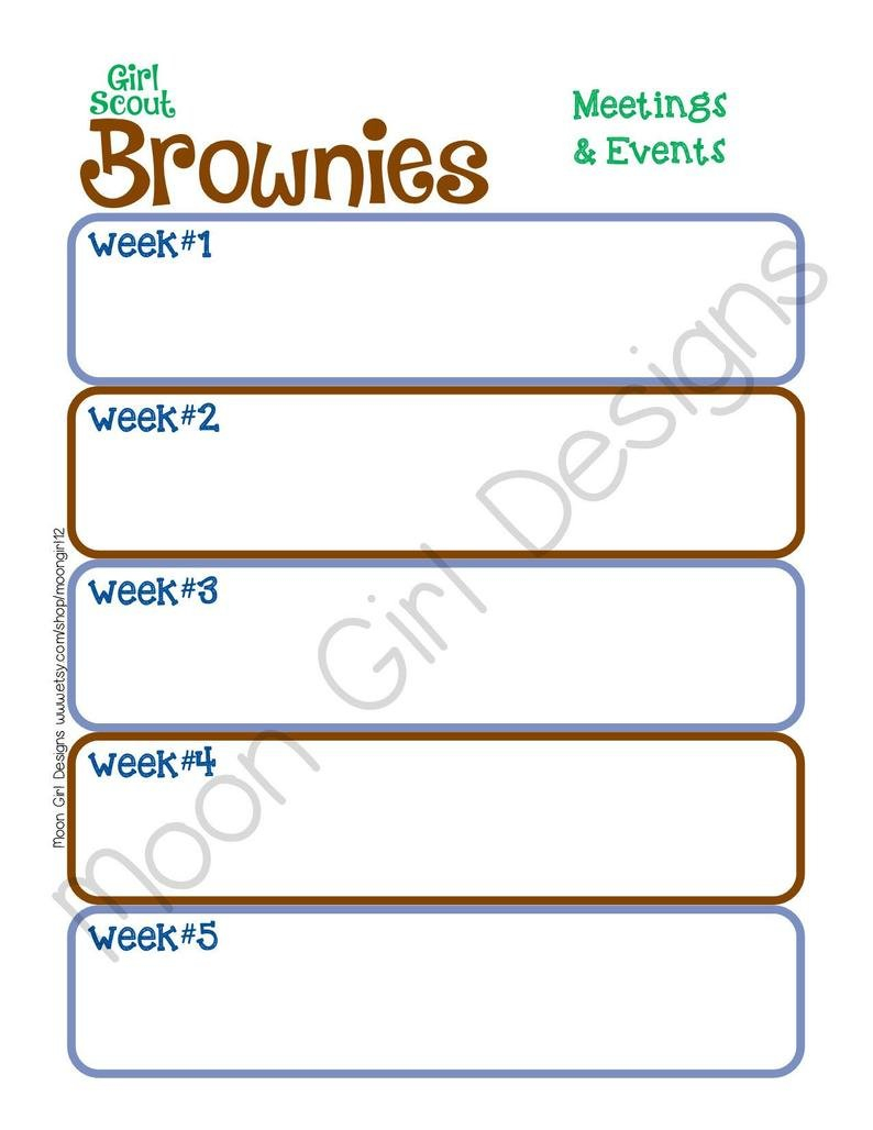 Brownie Monthly Activity Calendar Girl Scouts Editable   Etsy 2 Week Activity Calendar Editable
