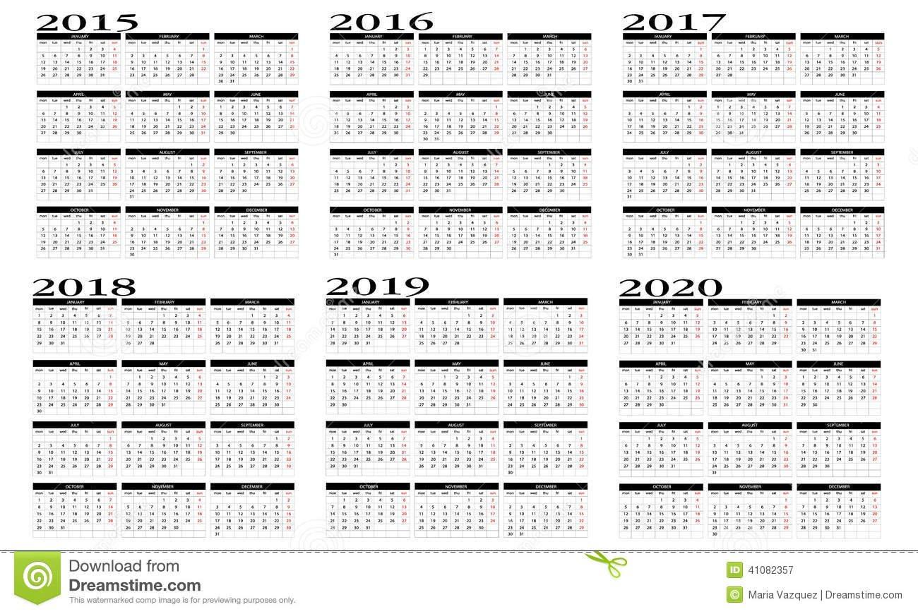 Calendar 2015 To 2020 Stock Vector – Image: 41082357 Five Year Calendar Image