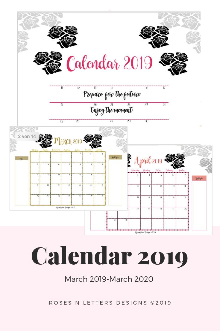 Calendar 2019 8X11 Full Page Weekly Calendar