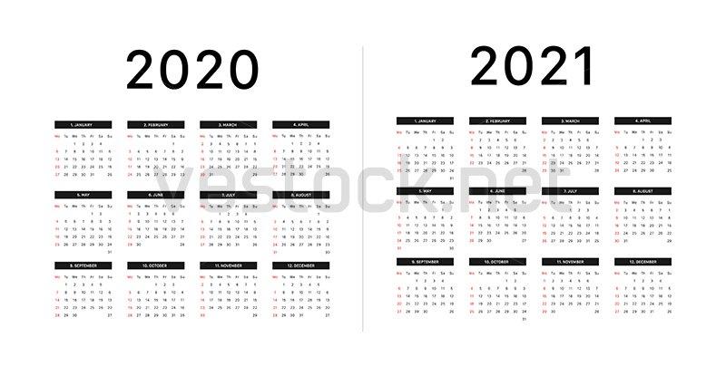 Calendar 2020, 2021, Week Starts On Monday, Basic Grid Empty Monday Through Sunday Schedule