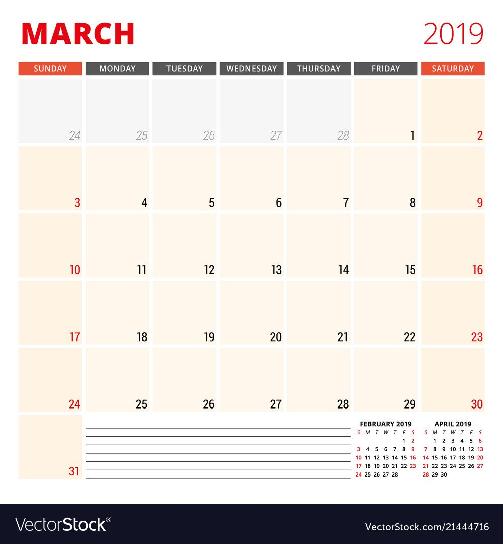Calendar Planner Template For March 2019 Week Vector Image 2 Week Calendar March