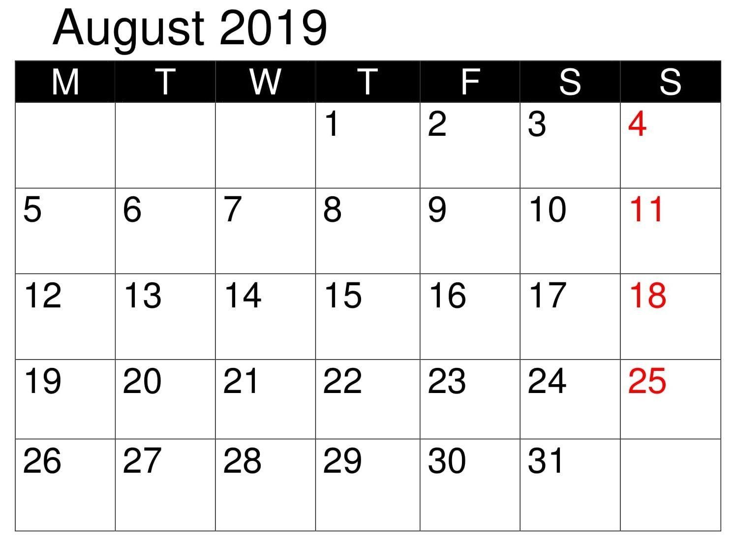 Calendar Printable August 2019 Word   Monthly Calendar Free Editable Calendars For School