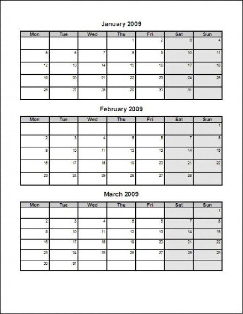 Calendar Templates 3Months Per Page | Example Calendar 3 Month Calendar Printable Free