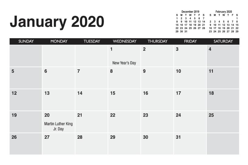 Calendar Templates | Printingcenterusa 5 X 8 Calendar Template