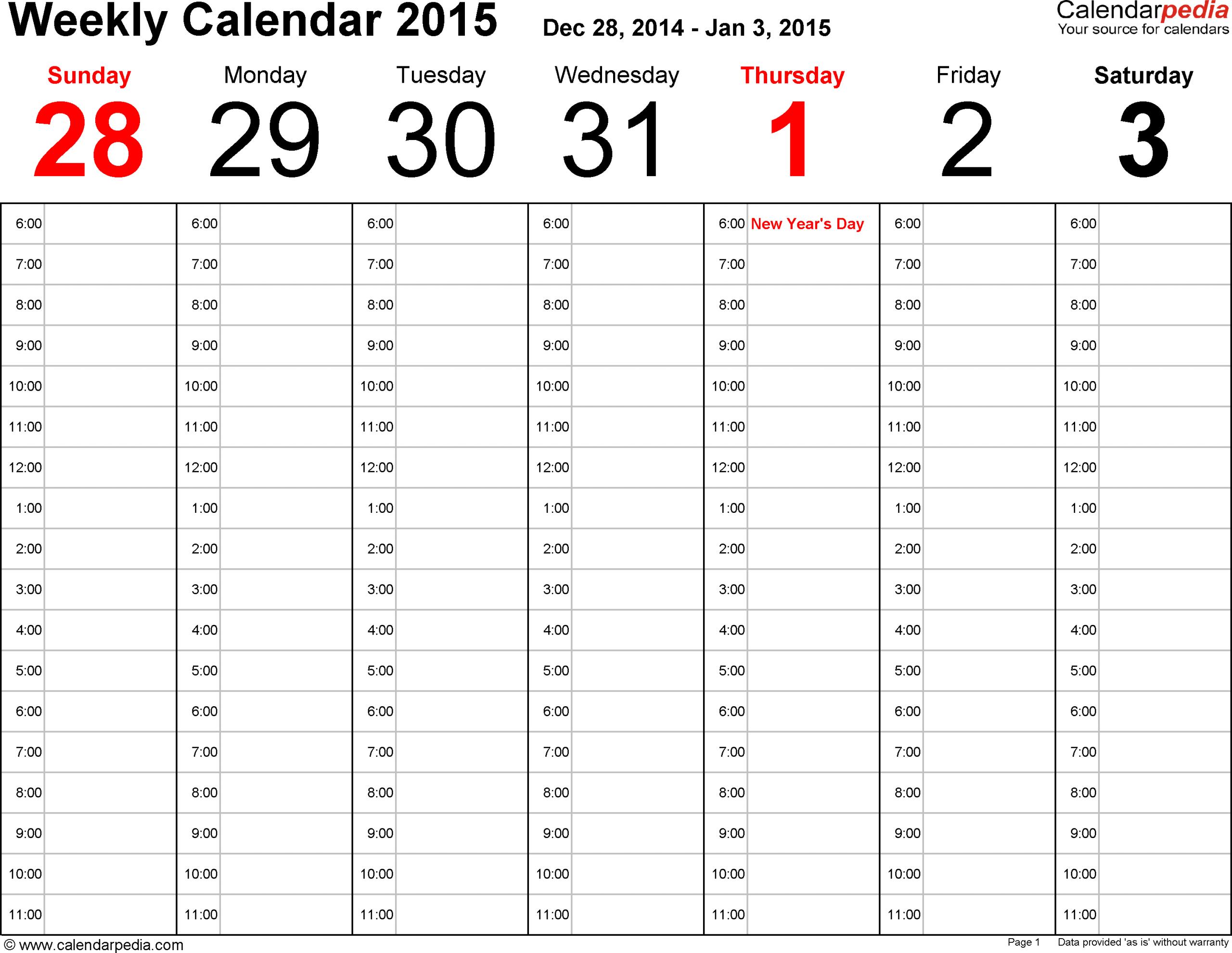 Calendarpedia – Free Printable, Fillable Calendar Two Week Calendar Template Word