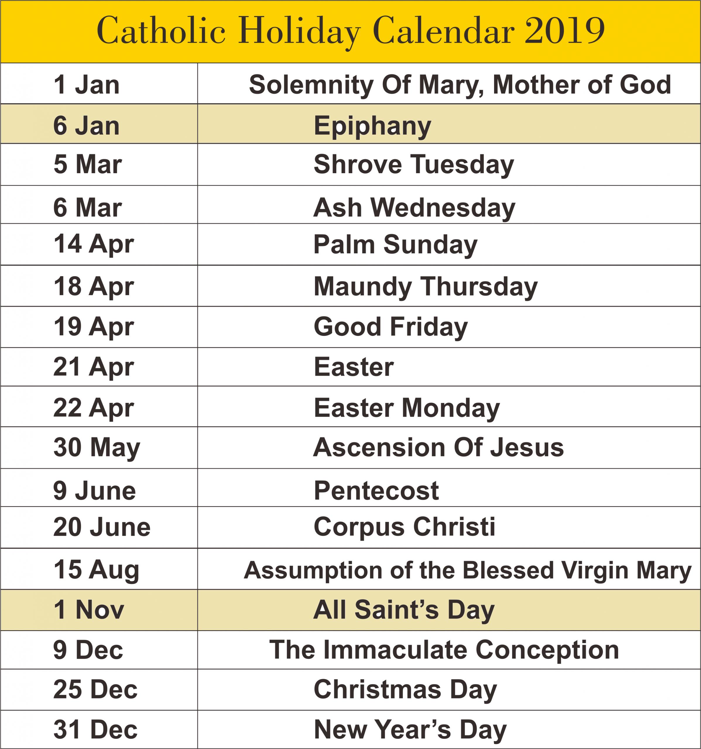 Catholic Calendar 2019 A4 | Catholic Liturgical Calendar Church Calendar Template Free