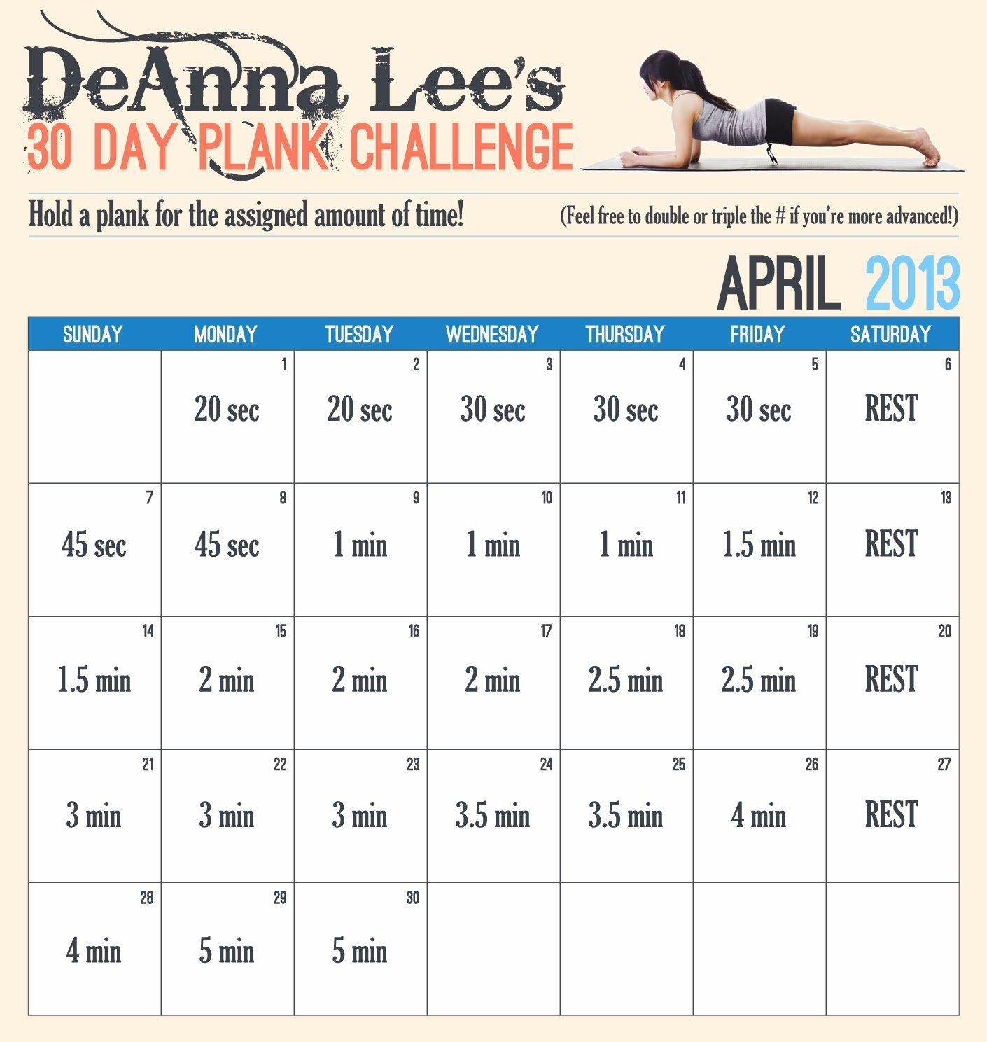 Change A Habit In 30 Days? – Challenge Accepted!  Walking Plank Challenge 30 Day Chart