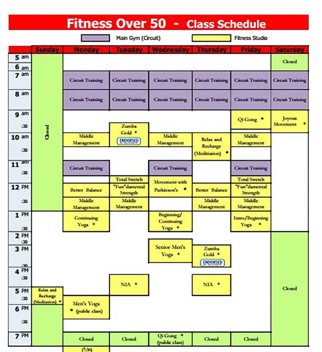 Class Schedule Template And How To Make It Blank Training Calendar Tueday Nights