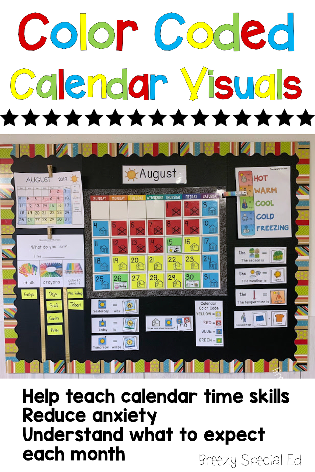 Color Coded Calendar Visuals – Breezy Special Ed Free Color Coded Calendars