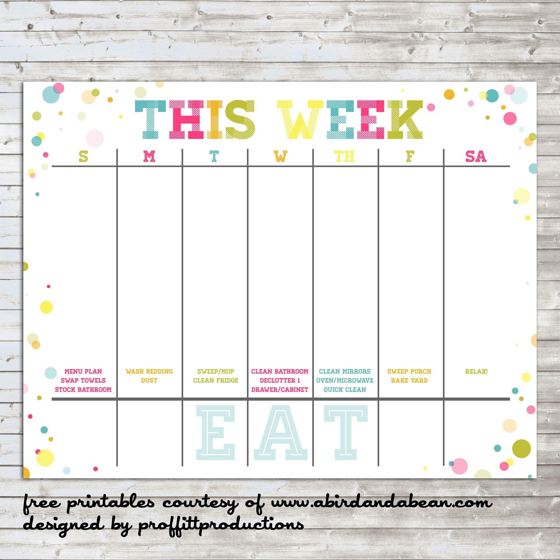 Colorful Weekly Calendar :: Free Printable   Weekly Free Printable 2 Week Calendar