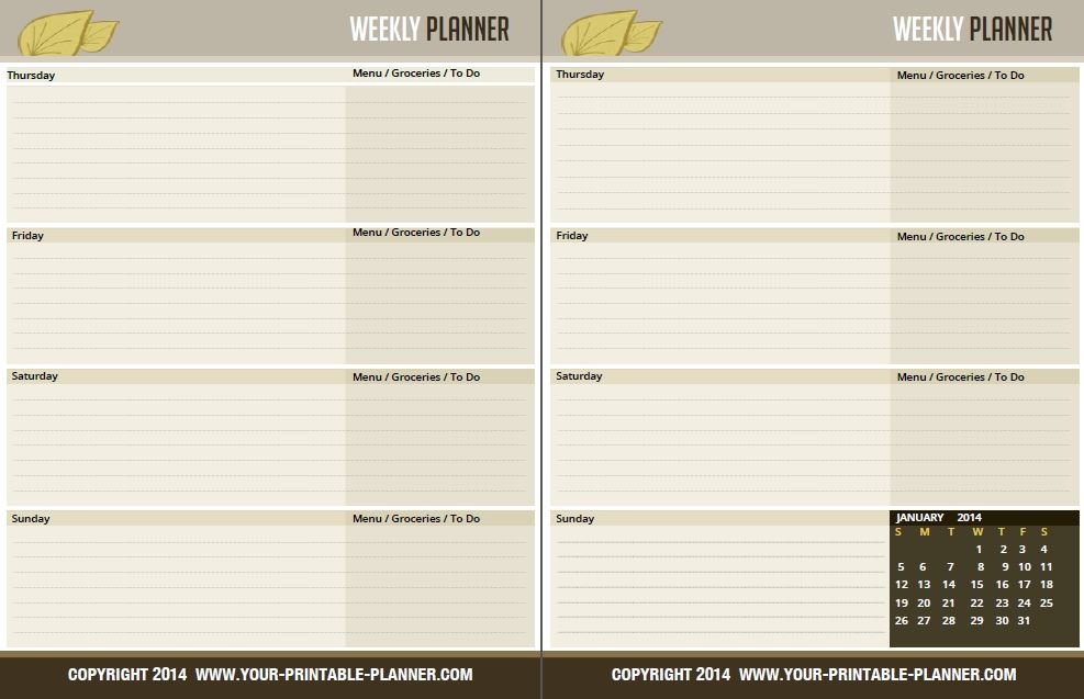 Complete Household Notebook – No Excuses For 2017 Free Two Week Planning Calendaar