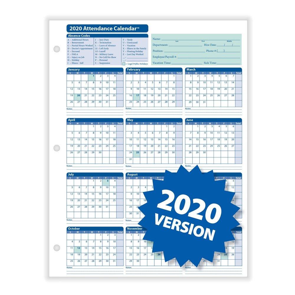 "Complyright 2020 Attendance Calendar, White, 8 1/2"" X 11 8 1 2 X 11 Printable Calendar"