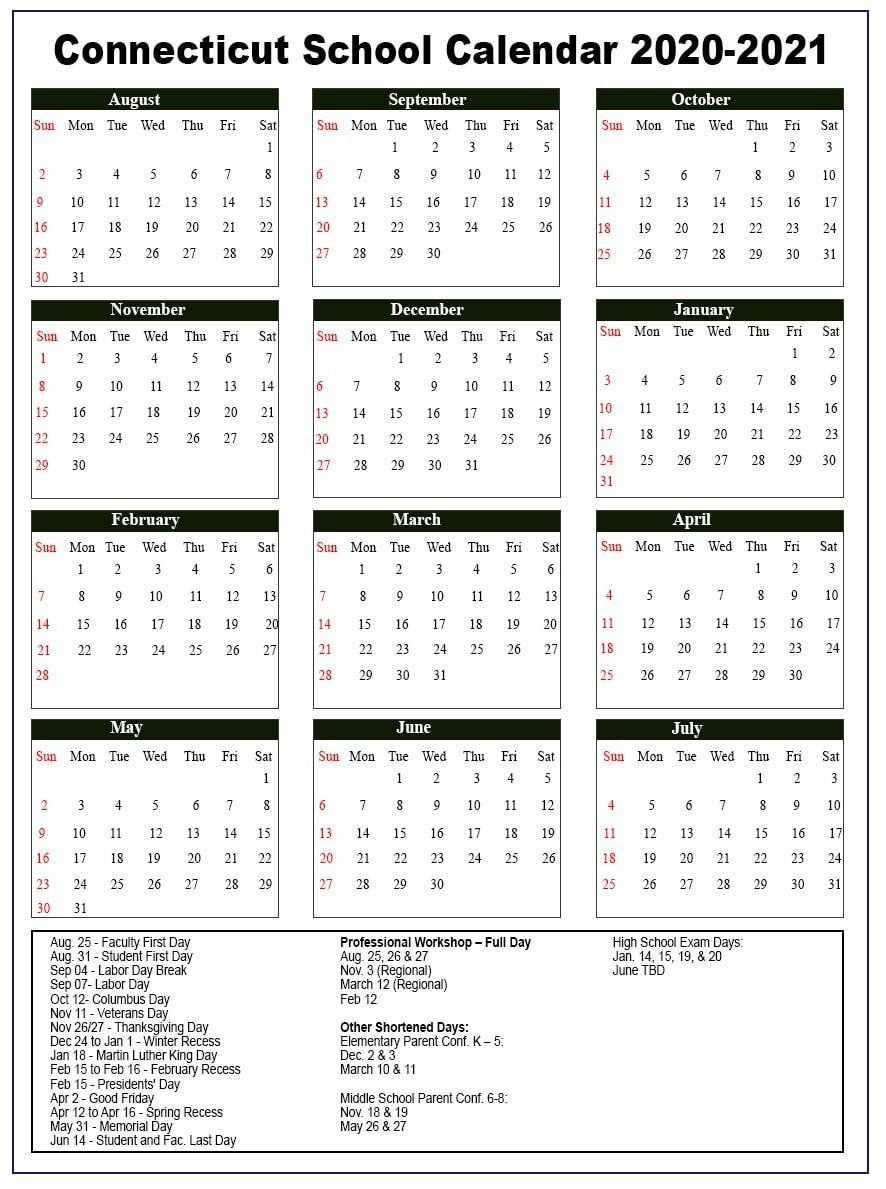 Connecticut School Holidays Calendar 2020 21 | Nyc School Calendear That I Can Edit With Holidays On It