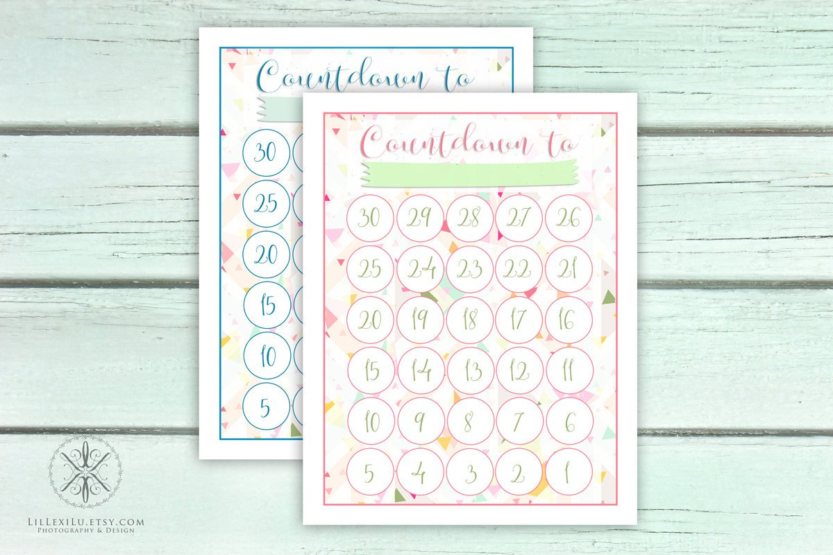 Countdown Calendar Counting Down The Days Count Down Date Retirement Countdown Calendar Printable