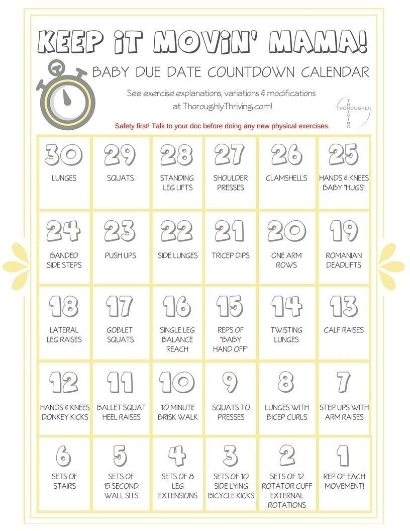 Countdown Calendar For Pregnancy   Free Calendar Template Pregnancy Countdown Calendar Printable Free