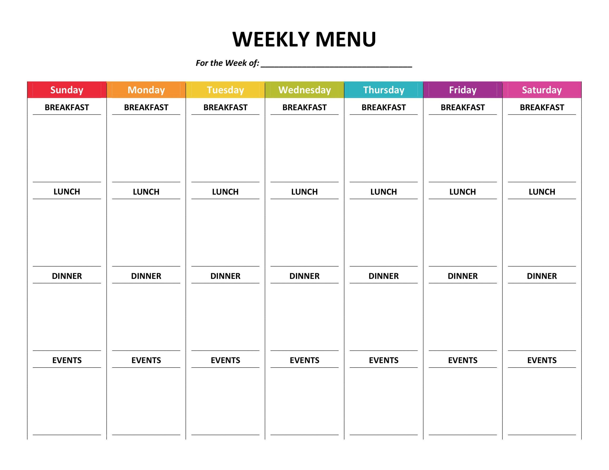 Daily Agenda – Gone Like Rainbows Weekly Fill In Calendar