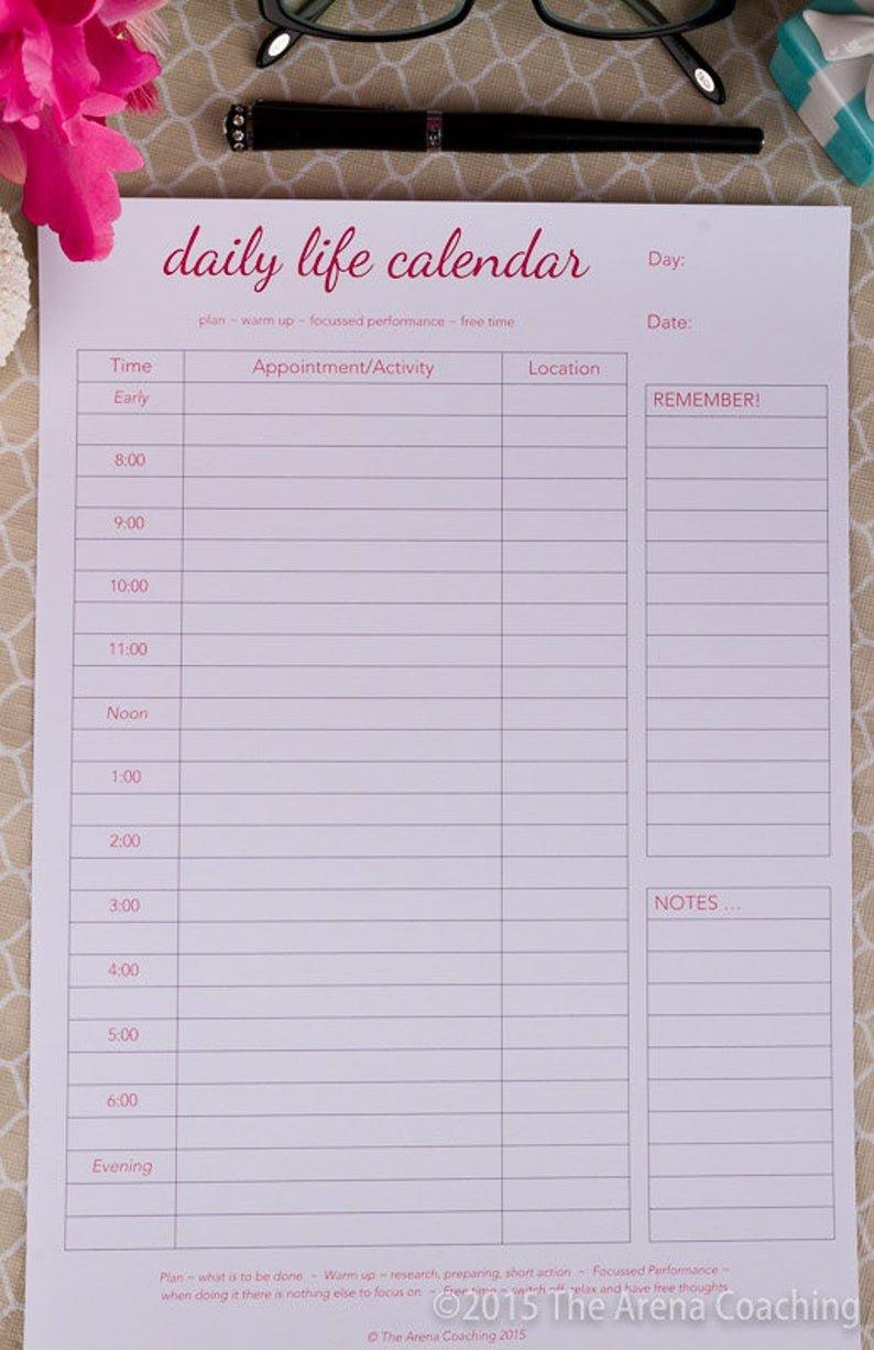 Daily Calendar/Scheduler Hourhour 2018 Printable   Etsy Daily Calendar By Hour Printable