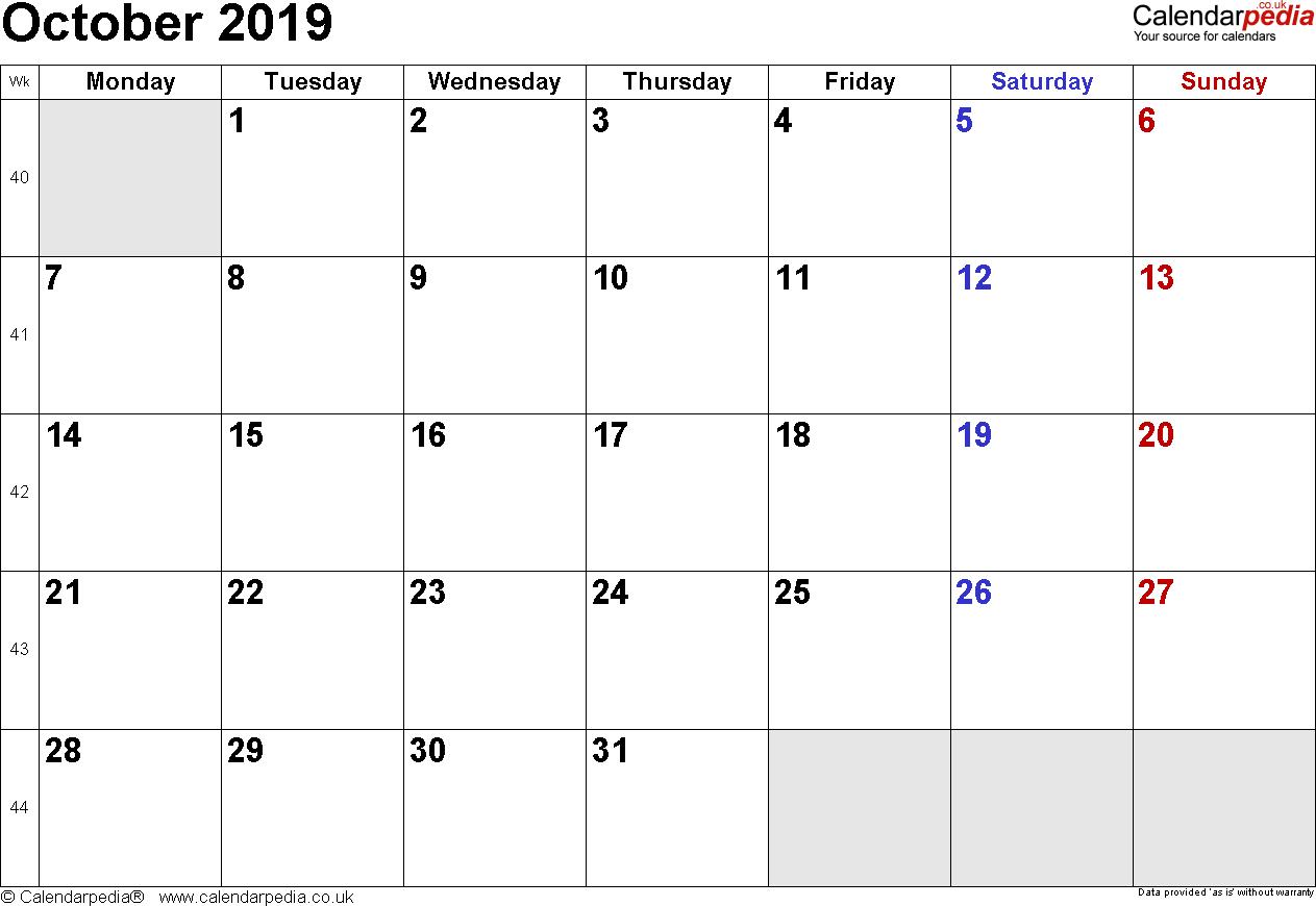 Daily Calendar Template October 2019 | Daily Calendar Holiday Time Off Calendar Excel