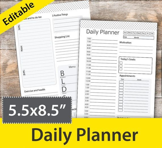 Daily Schedule Template, Daily Planner Printable, Half Weekly Planner Template 5.5