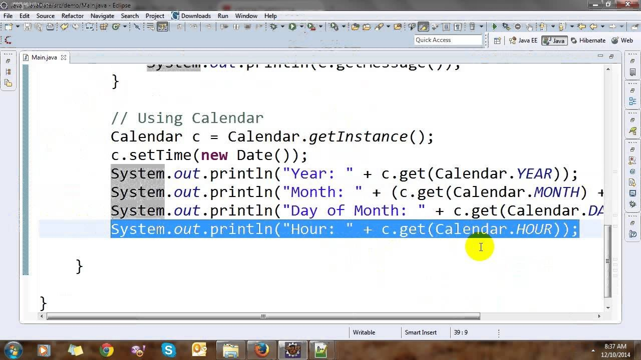 Date, Calendar And Time In Java – Youtube Day Calendar With Times