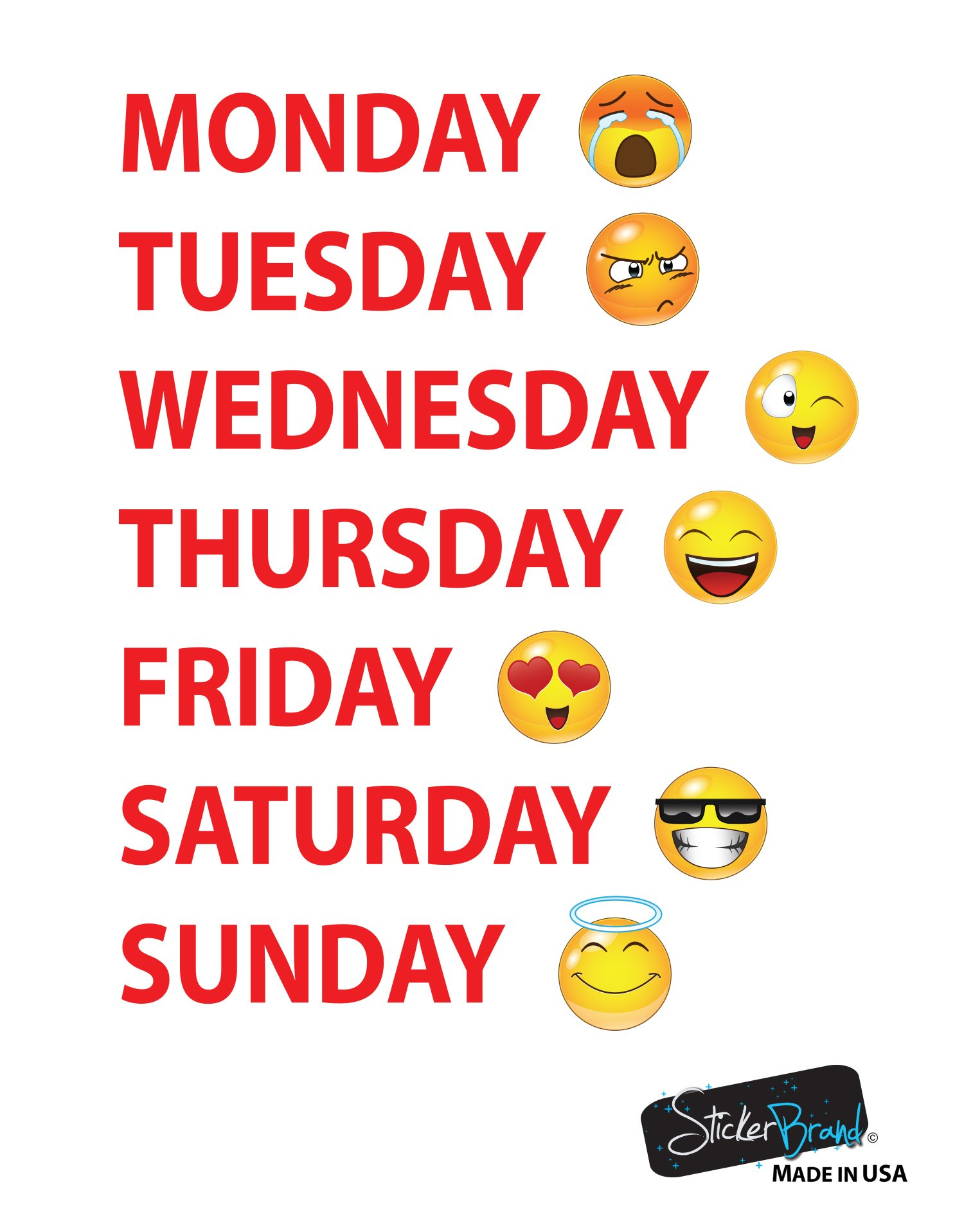 Days Of The Week Emojis Calendar Wall Decal Sticker #6071 How To Make Mini Calendars Of Only Monday To Friday