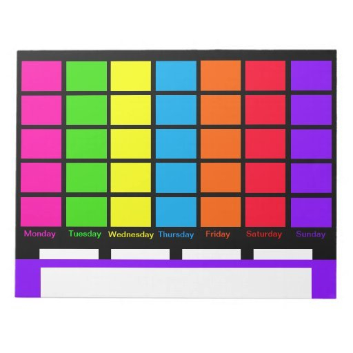 Days Of Week Color Coded Calendar Tools Notepads | Zazzle Free Color Coded Calendars