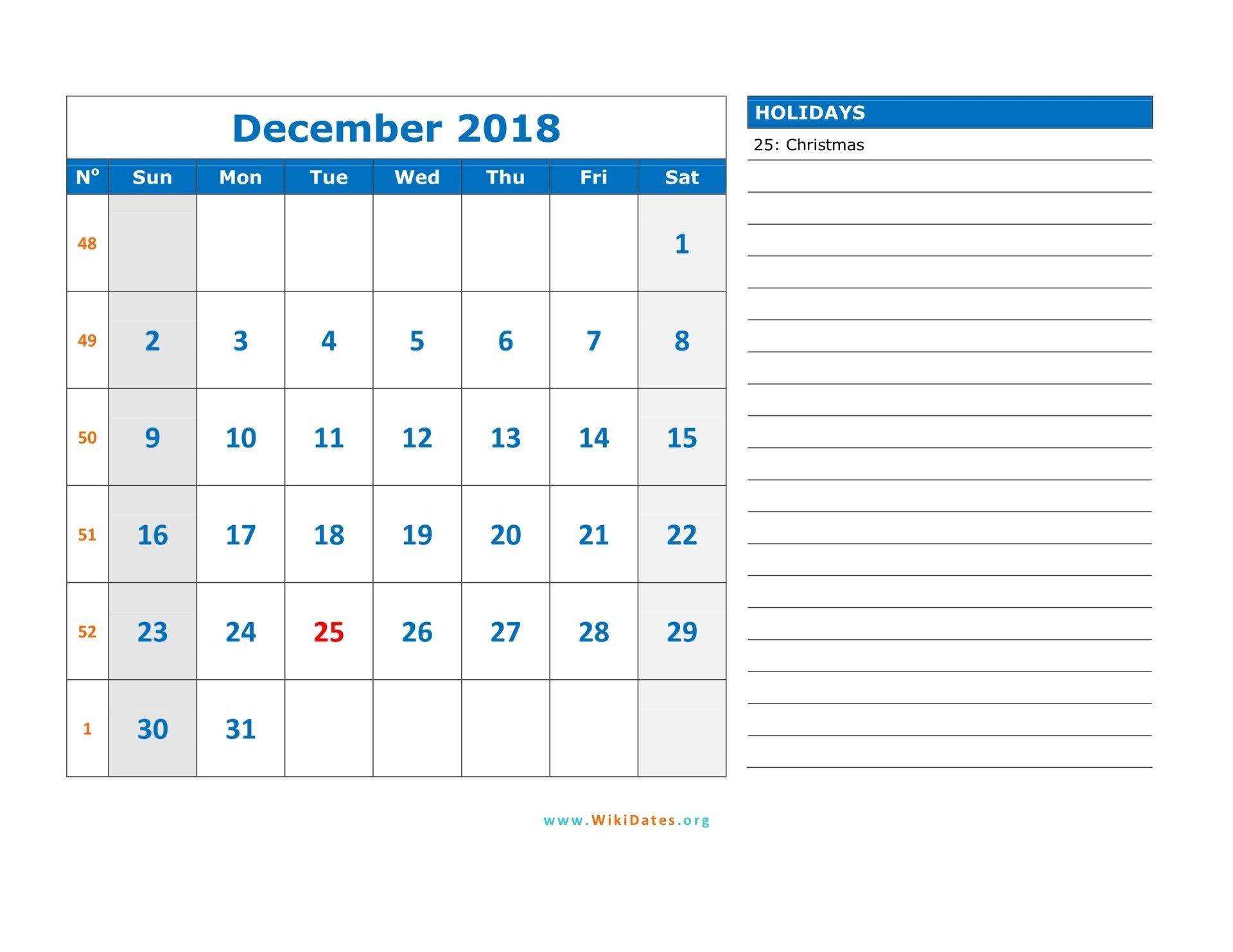 December 2018 Calendar   Wikidates 1 Week Calendar Pdf