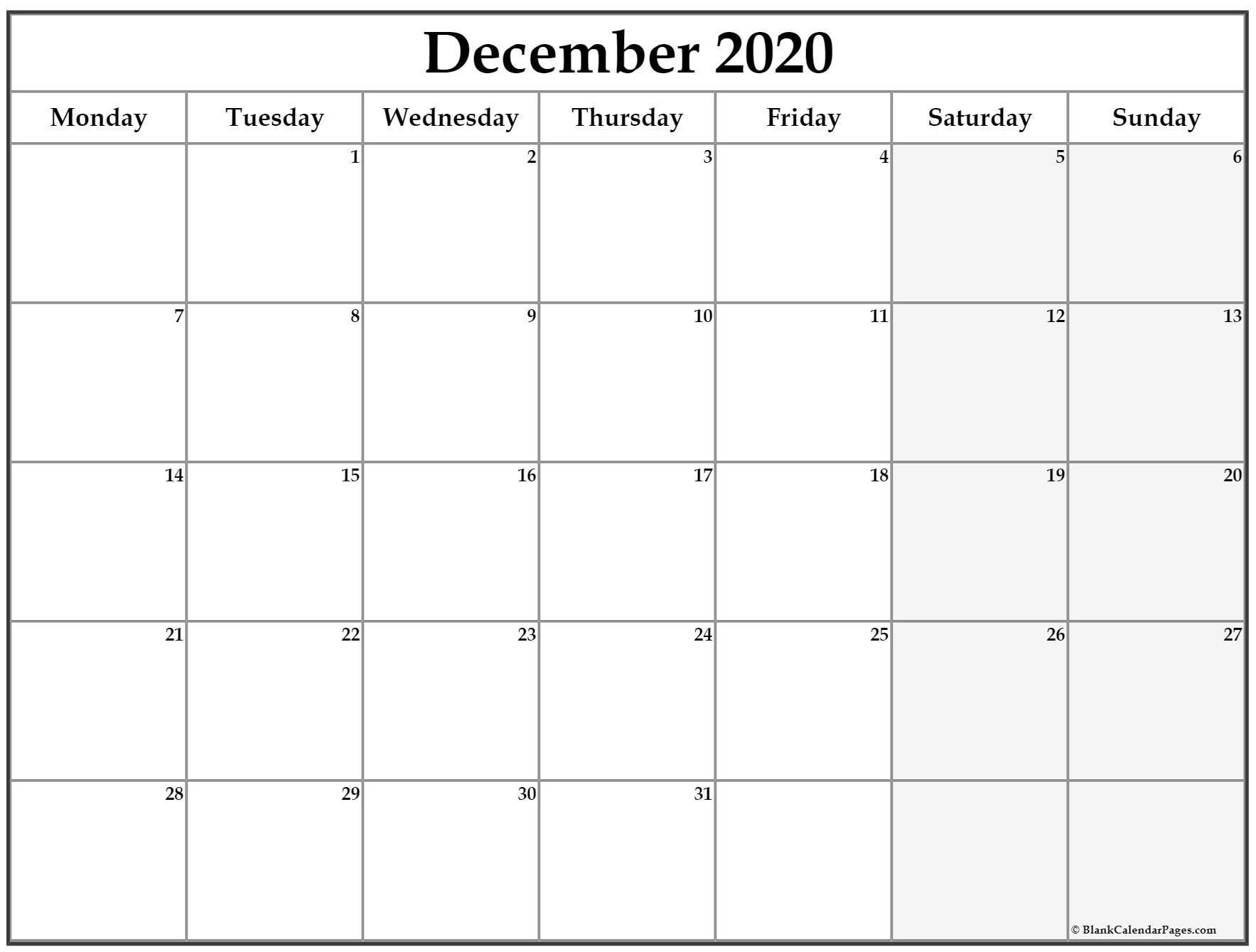 December 2020 Monday Calendar   Monday To Sunday Monday Through Sunday Planner