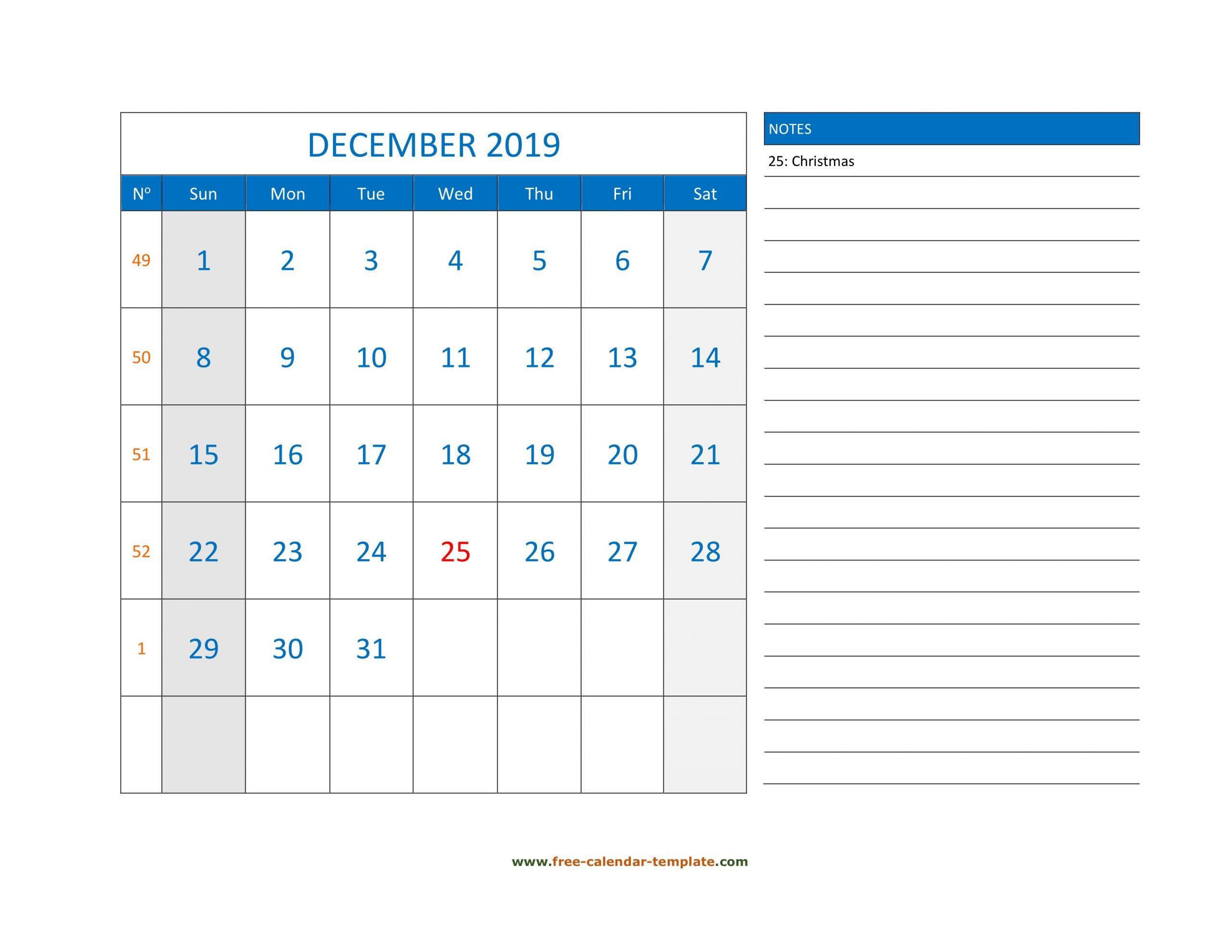 December Calendar 2019 Grid Lines For Holidays And Notes Free Weekly Numbered 52 Week Calendar Printable