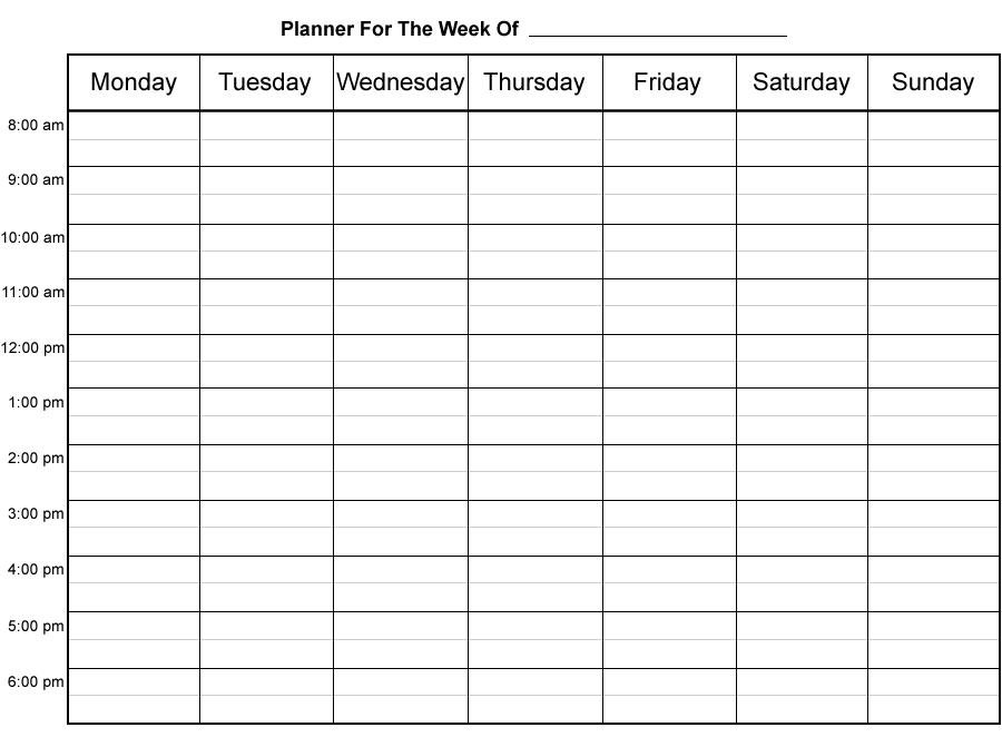 Do It Yourself Printable Weekly Planner – Fun With Printer Simple Weekly X5 Calendar Template